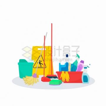 水桶拖把人字警示牌洗洁剂等清洁工打扫卫生用品png图片素材