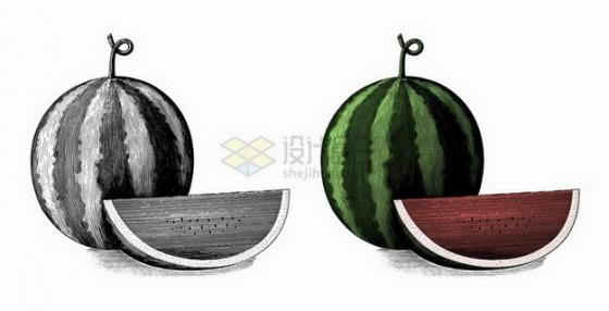 切开的西瓜美味水果手绘素描插画png图片免抠矢量素材