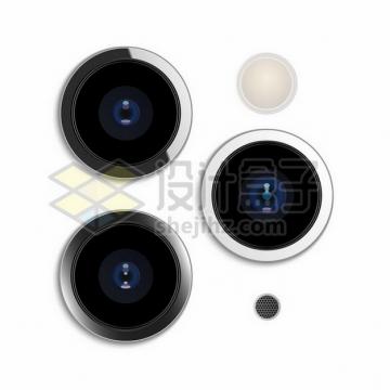 iPhone 11 Pro的三个手机摄像头png图片素材