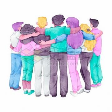 肩并肩抱在一起的人群象征了团结彩绘插画315602png图片素材