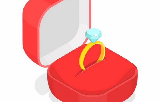装有结婚金戒指的红色戒指盒png图片免抠矢量素材