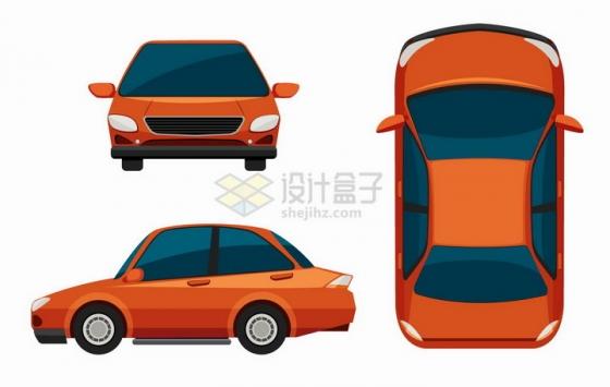 卡通橙色小汽车三视图png图片免抠矢量素材