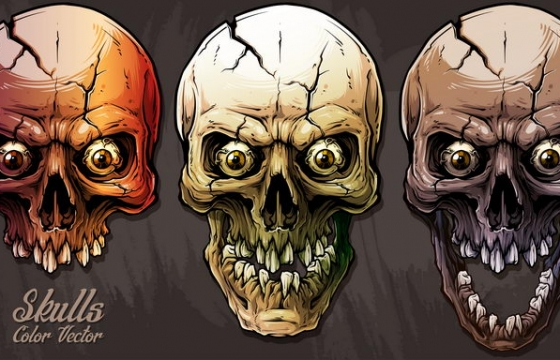 三款超酷超恐怖的骷髅头带眼球免抠矢量图片素材