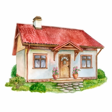 水彩画风格带草坪的红瓦房子png图片免抠矢量素材