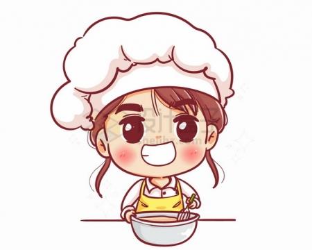 卡通美女小厨师正在做菜烹饪png图片素材