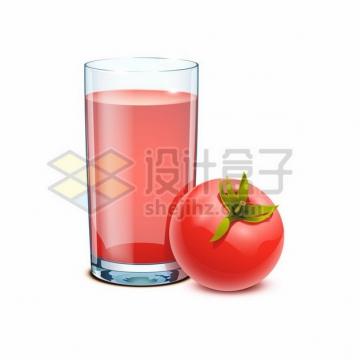 一颗西红柿和一杯番茄汁305403png图片素材