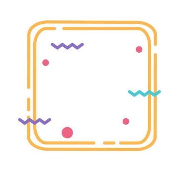 MBE风格黄色圆润方框边框AI矢量图片免扣素材