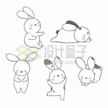 5款超可爱的卡通小白兔png图片免抠矢量素材