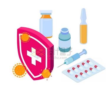 2.5D立体风格红色防护盾牌医药针筒等医疗png图片免抠素材