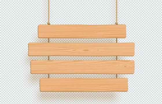吊着的四块木板文本框装饰框免抠矢量图片素材