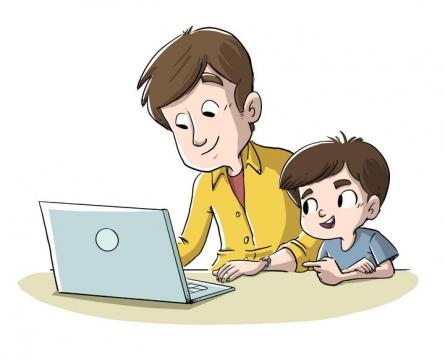 手绘卡通插画风格和爸爸一起用电脑的孩子图片免抠矢量图