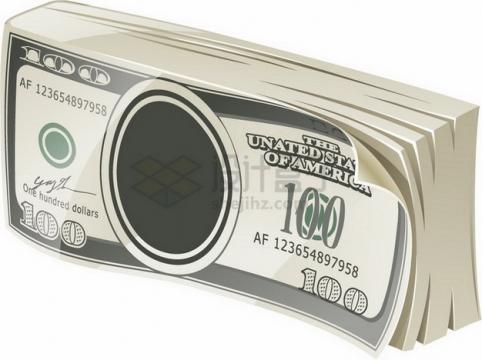 一沓100美元钞票纸币扁平插画png图片素材