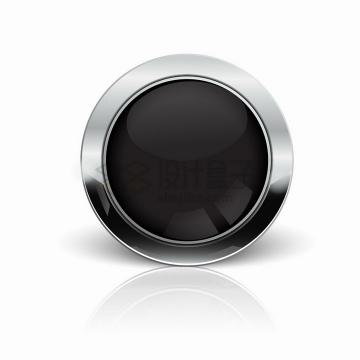 金属银色边框的黑色圆形水晶按钮png图片素材