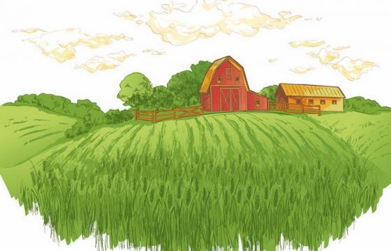 彩绘风格乡村绿色麦田和远处的农舍树林风景图png图片免抠矢量素材