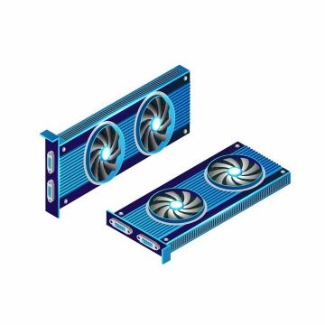 两款超炫的蓝色电脑显卡配件png图片免抠矢量素材