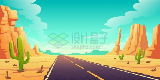 西部世界的公路风光风景插画png图片素材