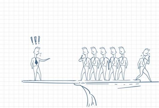 圆珠笔画涂鸦风格在悬崖边对员工训话有人离场象征公司倒闭职场人际交往配图图片免抠矢量素材