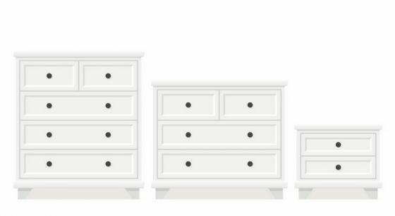 3种不同大小的白色柜子抽屉柜床头柜家具png图片免抠矢量素材