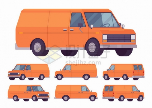 6个不同角度的卡通橙色面包车png图片免抠矢量素材