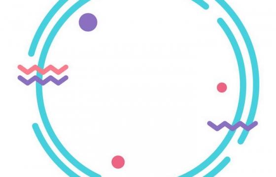 MBE风格蓝色圆润圆形边框AI矢量图片免扣素材