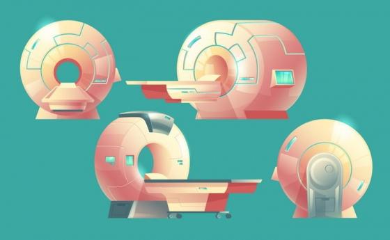 彩色插画风格各种角度的医院CT机免抠矢量图片素材