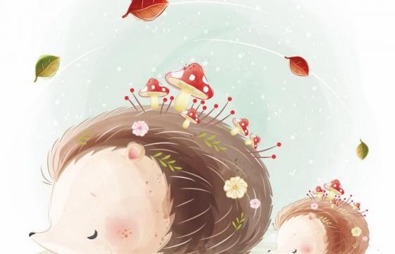 可爱的卡通刺猬身上长了蘑菇小动物png图片免抠矢量素材