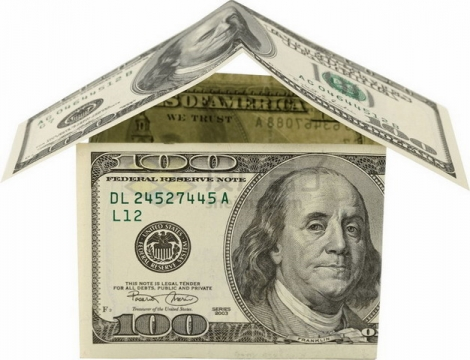 100美元钞票纸币搭建的纸房子png图片素材