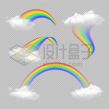 4款写真半透明的白云和七彩虹png图片免抠矢量素材
