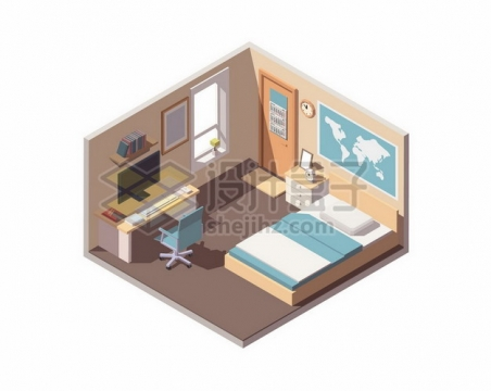 2.5D风格温馨的儿童房卧室装修111861png矢量图片素材
