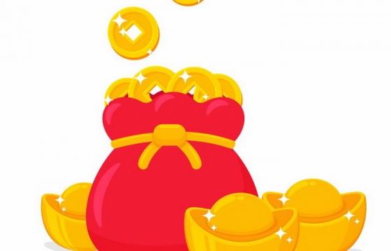 卡通风格红色钱袋子里的金币和金元宝png图片免抠矢量素材