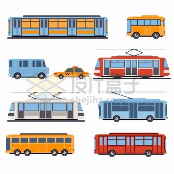 各种地铁公交车有轨电车出租车等城市交通工具侧视图png图片免抠矢量素材