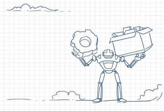 圆珠笔画涂鸦风格扛着齿轮和文件的机器人职场人际交往配图图片免抠矢量素材