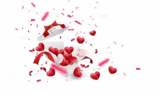 情人节打开的白色礼盒中飞出的红心心形png图片免抠矢量素材