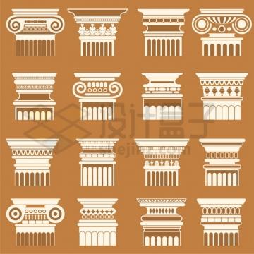 16款古希腊古罗马柱子花纹图案png图片素材