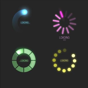 4款炫光效果的圆形加载进度条loading设计png图片免抠eps矢量素材