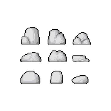像素风格灰色的石头图片免抠素材