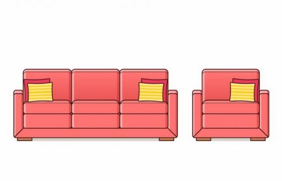 红色卡通风格组合沙发单人沙发客厅家具png图片免抠矢量素材