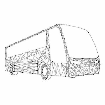 黑色点线组成的公交车长途大巴客车png图片免抠矢量素材