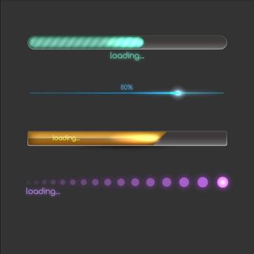 4款长条状炫光效果加载进度条loading设计png图片免抠eps矢量素材