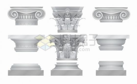 9款逼真的古希腊古罗马柱子花纹图案2909835png图片素材