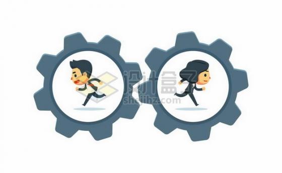 两个卡通商务人士在齿轮中往相反的方向奔跑职场不团结勾心斗角png图片素材
