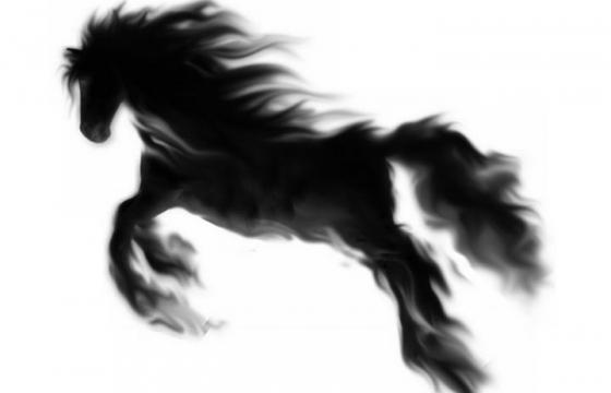 水墨画效果奔跑的骏马图片png免抠素材