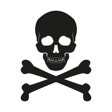 黑色骷髅头有毒标志图片免抠素材