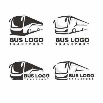 4款大巴长途汽车黑白色logo设计方案png图片免抠矢量素材