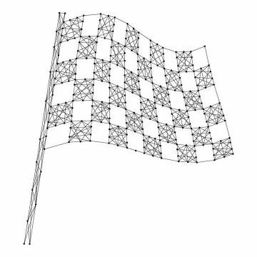 黑色点线组成的赛车比赛黑白方格旗格子旗png图片免抠矢量素材