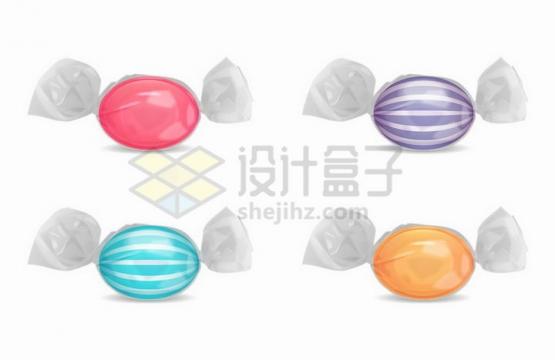 4款彩色糖果包装西瓜糖png图片免抠矢量素材
