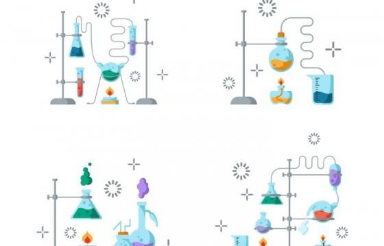 4款扁平化风格正在进行的化学实验插图图片免抠矢量图