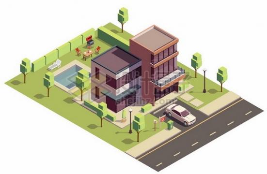 2.5D风格别墅建筑png图片素材