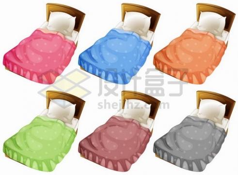 6款不同颜色被子的卡通单人床png图片免抠矢量素材