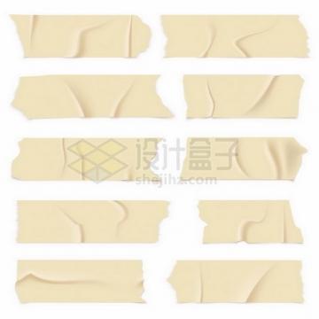 10款黄色胶带贴纸效果png图片免抠矢量素材